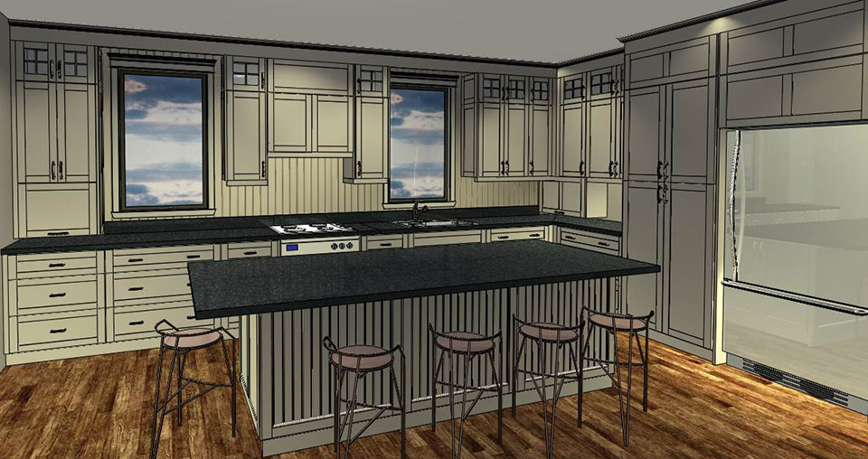 Custom Country Kitchen 3D Rendering