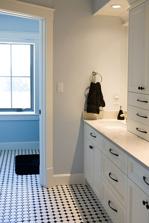 Custom Bathroom Cabinest and Flooring